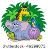 Group of African animals - vector illustration. - stock vector