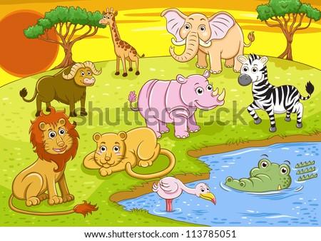 group of african safari animal - stock vector