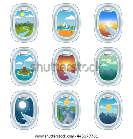 Group of airplane windows with different views. Airplane window view night holiday vacation. Commercial airline, clouds sunset airplane window view. Clean window travel airplane set. - stock vector