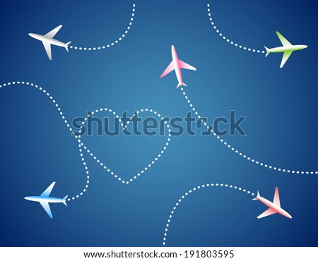 Group of airplanes and heart - stock vector