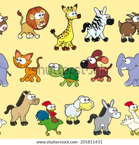 Group of animals with background. The sides repeat seamlessly for a possible packaging or graphic - stock vector