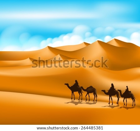 Group of Arab People with Camels Caravan Riding in Realistic Wide Desert Sands in Middle East. Editable Vector Illustration - stock vector