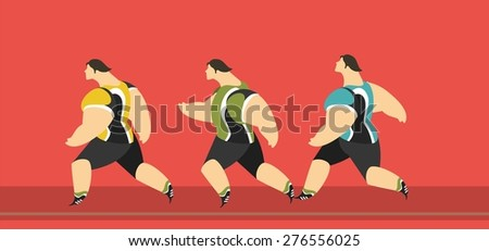 group of athletes running men one by one in sportswear characters - stock vector