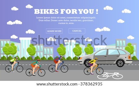 Group of bicycle riders on bikes on road. Street with bicycle line. Biking sport concept cartoon banners. Vector illustration in flat style design. - stock vector