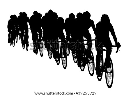 Group of bicyclists in race riding a bicycle isolated against white background silhouette vector illustration. Sport tourist company friends on bicycles . Silhouette people, mountain bike. Friendship. - stock vector