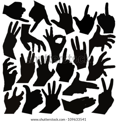 group of black hands silhouettes. vector design - stock vector