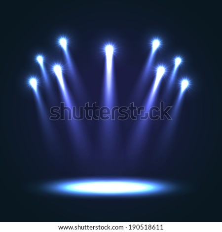 Group of blue bright projectors for scene lighting decoration on black background. Special vector light effects - stock vector