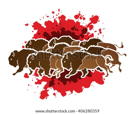 Group of buffalo running designed on splash blood background graphic vector