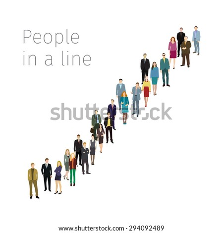 Group of business and office people standing in line. Flat design, vector illustration - stock vector