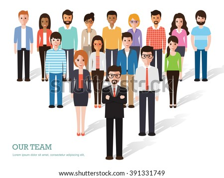 Group of business men and women, working people on white background ...