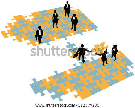 Group of business people build a bridge solution to connect teams - stock vector