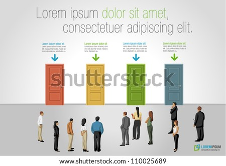 Group of business people choosing the right door. Multiple options. - stock vector