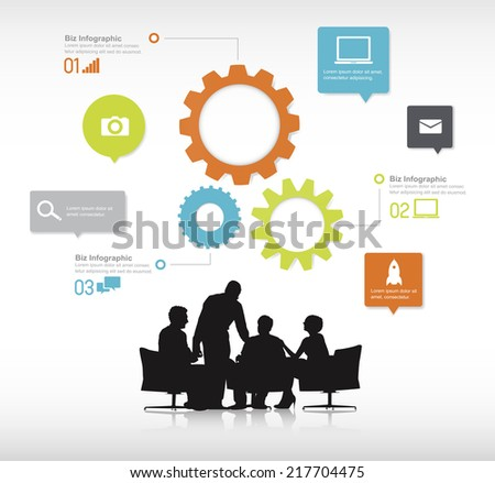 Group of business people discussing in a white background with colorful gears on top of them. - stock vector