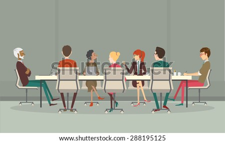 Group of business people having a meeting around a conference table - stock vector