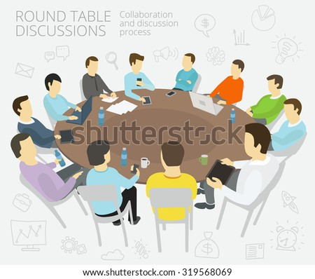 Group of business people having a meeting round-table talks conference collaboration and discussion process conference presentation - stock vector