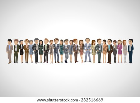 Group Of Business People - Isolated On Gray Background - Vector Illustration, Graphic Design Editable For Your Design