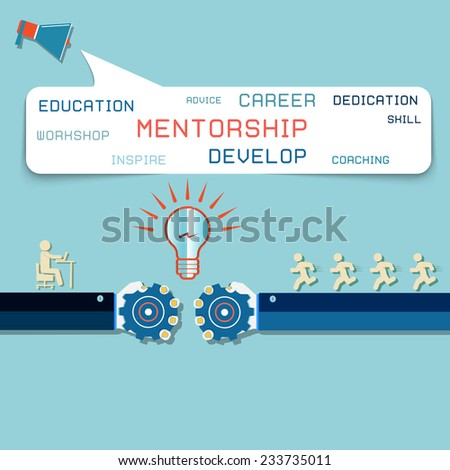 Group of Business People Learning With the Help of Their Mentor - stock vector