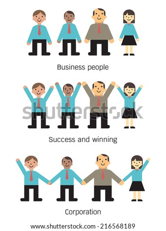 Group of business people, multi-ethnic, business office person include with boss or manager. Simple flat design style in concept of teamwork, winning, and corporation.  - stock vector