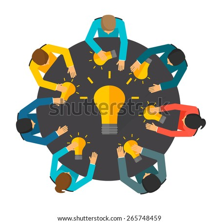 Group of business people  with light bulbs at the table, top view. Team generating creative ideas. Teamwork concept, vector illustration - stock vector