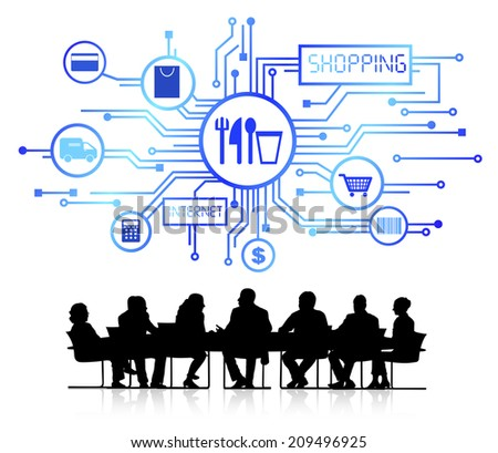 Group of Business People with Shopping Concept - stock vector
