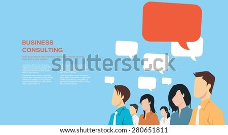 Group of business people with speech bubbles communicating - stock vector