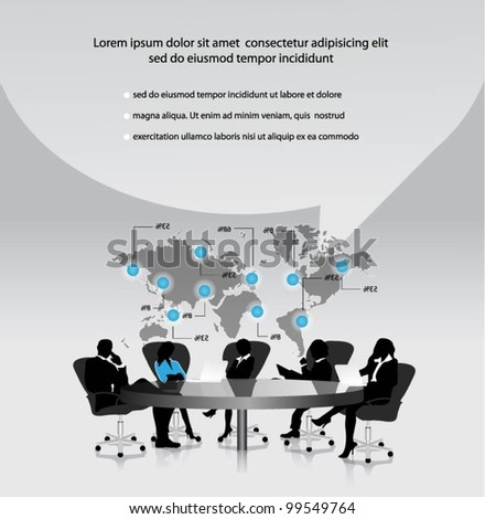 group of business people working in office with world map.vector