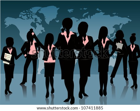group of business woman silhouette background - stock vector