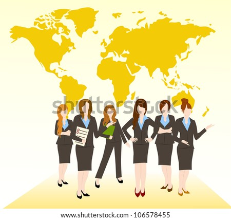 group of business woman team - stock vector