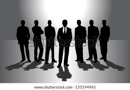 group of businessmen against the sun - stock vector