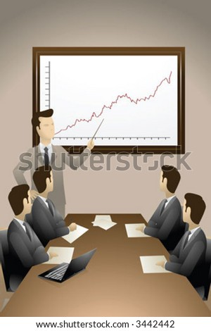 Group of businessmen having meeting - stock vector