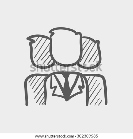 Group of businessmen sketch icon for web and mobile. Hand drawn vector dark grey icon on light grey background. - stock vector