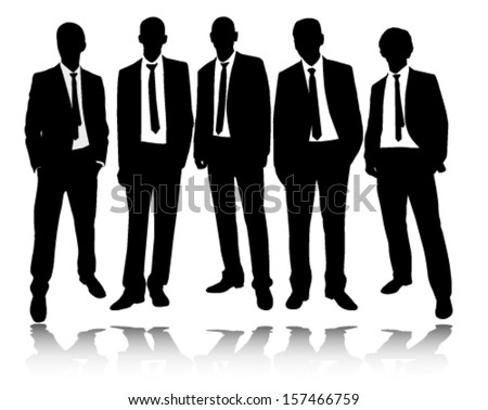 group of businessmen standing and posing silhouettes - stock vector