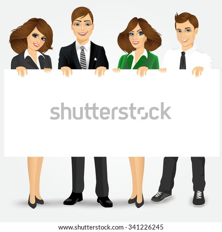 group of businesspeople holding a blank billboard - stock vector