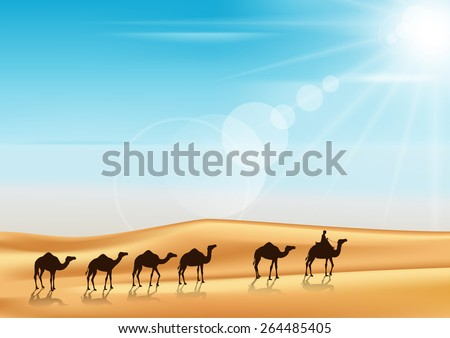 Group of Camels Caravan Riding in Realistic Wide Desert Sands in Middle East with a Beautiful Sunlight in Horizon. Editable Vector Illustration - stock vector