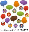 Group of cartoon business people faces with speech balloon icons - stock vector