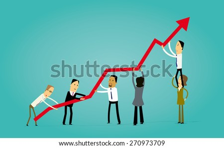 Group of cartoon business people holding an arrow, teamwork metaphor - stock vector