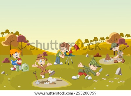Group of cartoon explorer boys on green field wearing different costumes - stock vector