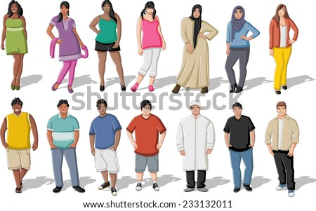 Group of cartoon fat young people - stock vector