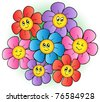 Group of cartoon flowers - vector illustration. - stock vector