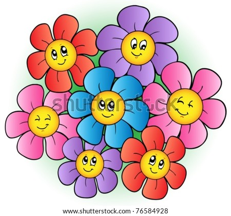 Group Of Cartoon Flowers