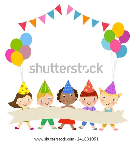 Group of children and birthday party - stock vector