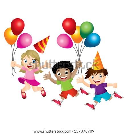 Group of children celebrating birthday - stock vector