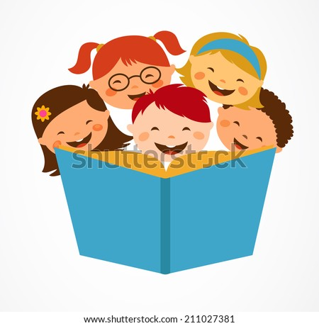 Group of children enjoying reading together  - stock vector