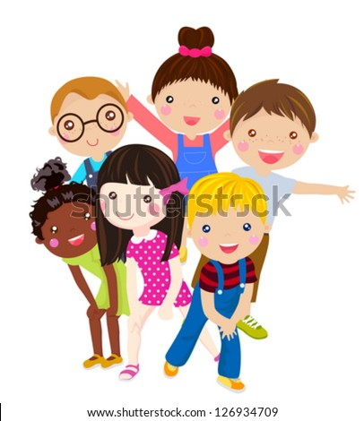 group of children having fun - stock vector