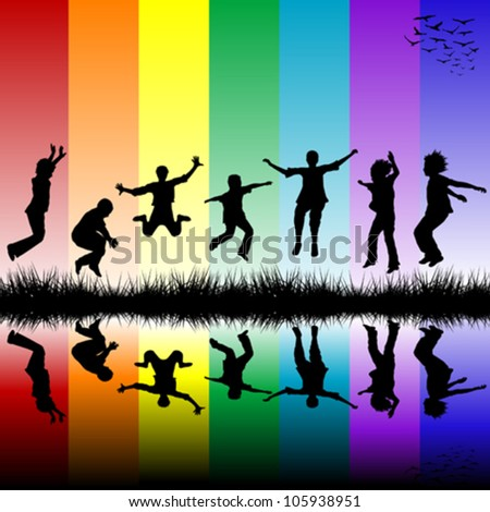 Group of children jumping over a rainbow striped background - stock vector