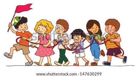 group of children kids is playing rope train in isolated background create by cartoon vector