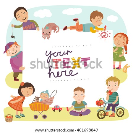 Group of children playing.  Childish holiday card in vector. - stock vector