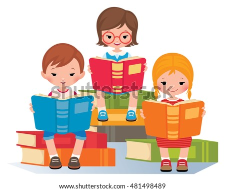 group of children reading sitting on a pile of books stock vector illustration - Cartoon Picture Of Children