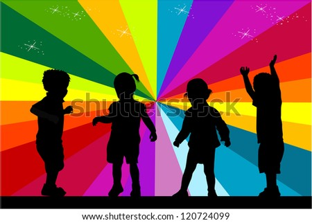 group of children's silhouettes - stock vector