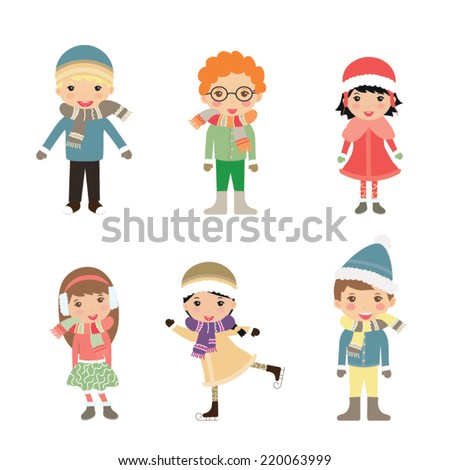 Group of children-winter boys and girls - stock vector